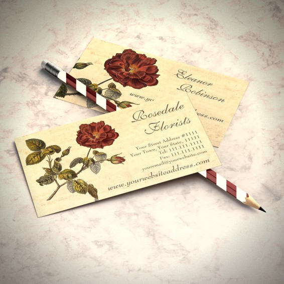 Vintage French Rose Business Cards