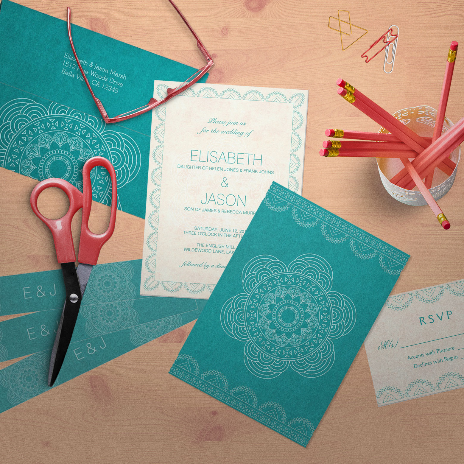 Mandala Teal Garden Wedding Collection