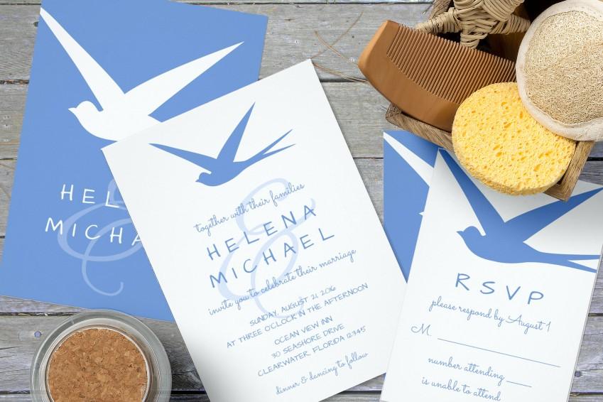 Blue Bird Wedding Invitations