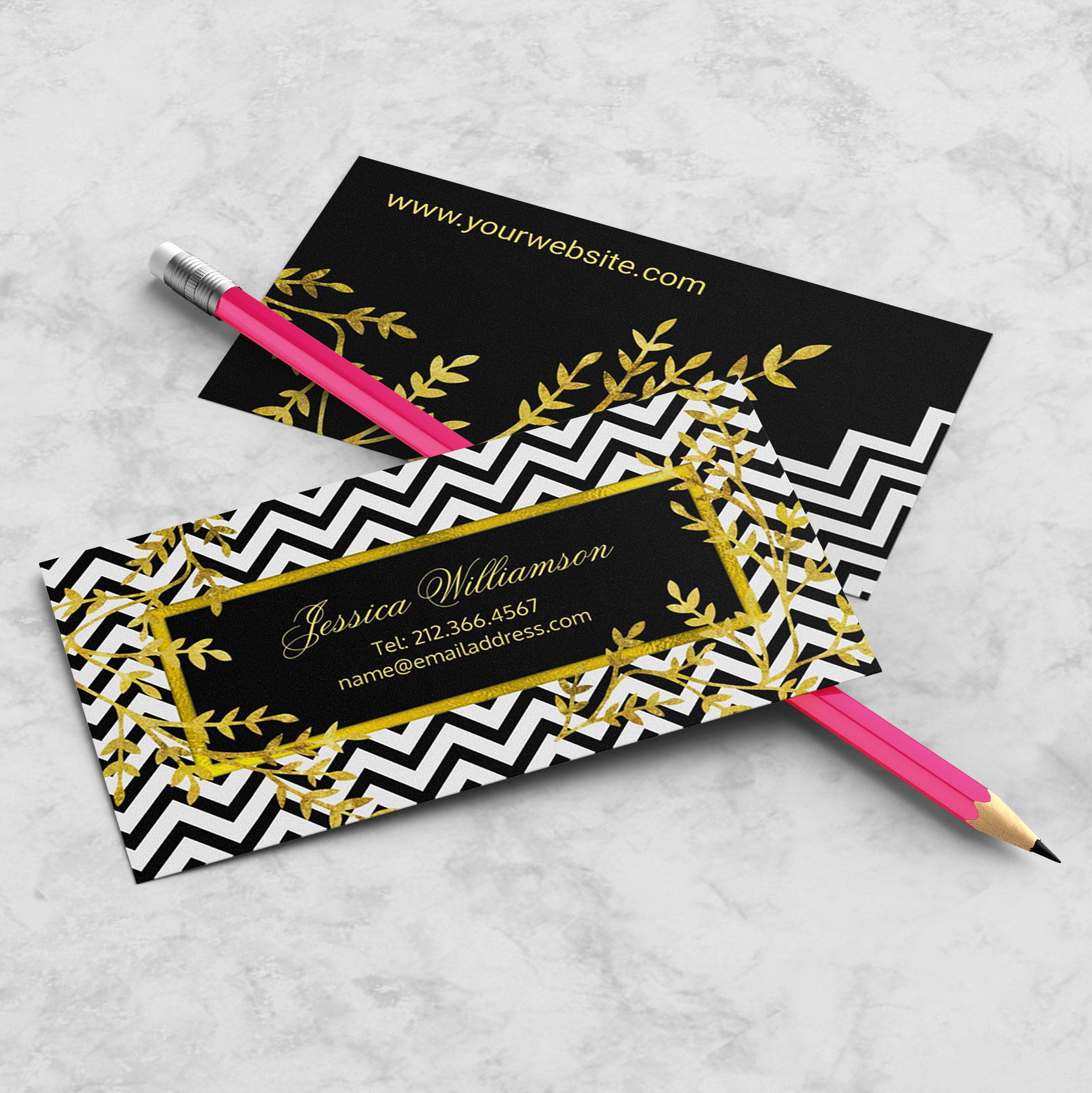 Chevron Faux Gold Business Cards