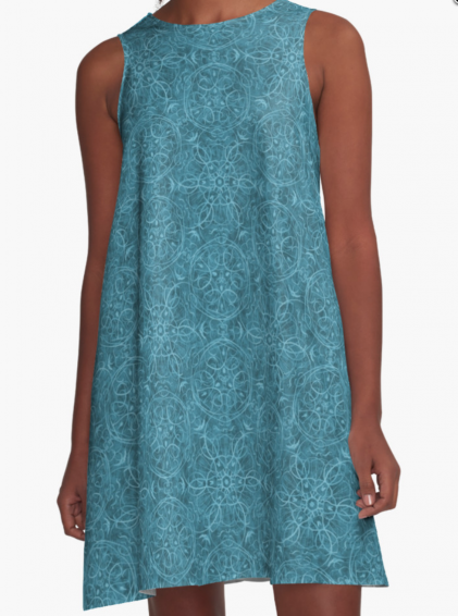 Moroccan Teal A-Line Dress