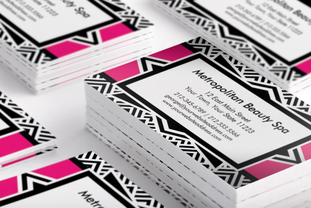 Hot pink black art deco chevron pattern business card antique images hot pink and black art deco business cards colourmoves