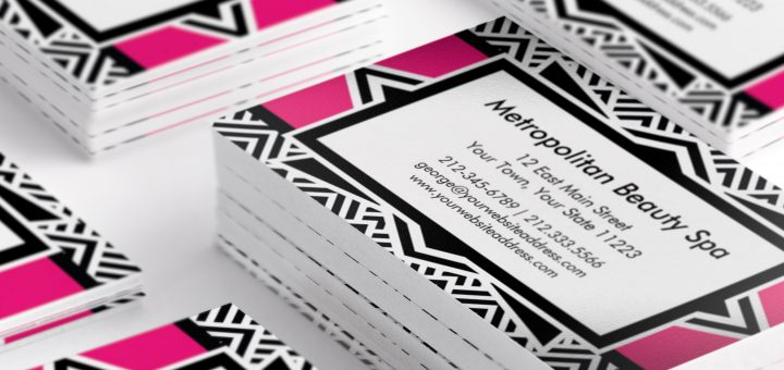 Hot Pink and Black Art Deco Business Cards